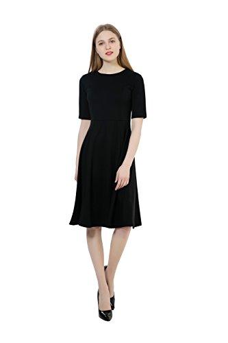 Dantiya Women's Half Sleeve Elegant Back Zipper A-Line Knee Long Dress, Black, Medium