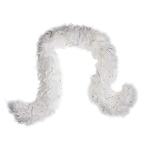 Cynthia's Feathers 80g Chandelle Feather Boa (White/Silver Tinsels) ()