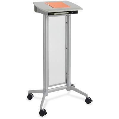 Impromptu Lectern - Safco Impromptu Lectern - Rectangle - 46.5quot; Height - Steel, Polycarbonate - Gray, Panel