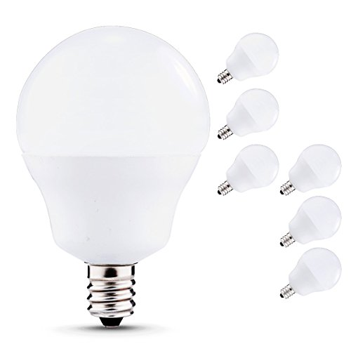 JandCase 5W Candelabra Base Bulbs, G14 LED 40W Equivalent Light Bulbs, 450lm, Natural Daylight White 4000K, E12 Candelabra Globe Bulb for Vanity Mirror Light, Ceiling Fan, Not Dimmable, 6 Pack Candelabra Base Miniature Light Bulb