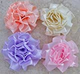 40pc Assorted Cabbage Satin Fabric Flowers Appliques A44