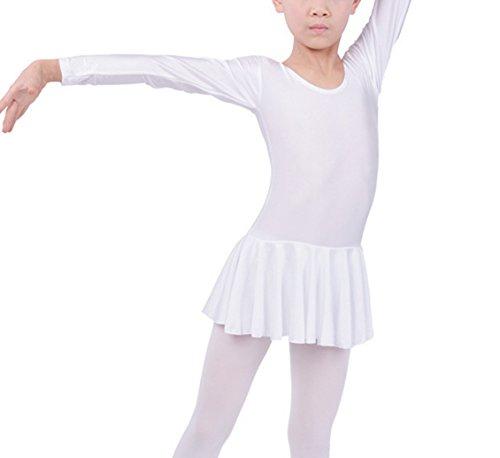 [Kids Girls White Sports Ballet Leotard Dance Dress Long Sleeve Gymnastics Fitness Costume Skirt XXXXL] (Long Sleeve White Leotard Girls Costumes)