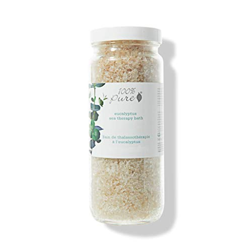 100% PURE Eucalyptus Sea Therapy Bath Soak, Bath Salts for Relaxation, Made with Eucalyptus Essential Oil, Spa Kit for Home, Bath Soak with Essential Oils - 15 Oz