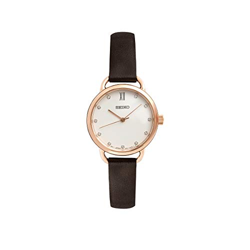 (Seiko Womens Analogue Classic Quartz Watch with Leather Strap SUR698P2)