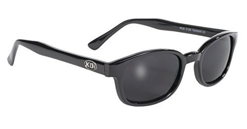 Pacific Coast Original KD's Biker Sunglasses (Black Frame/Dark Grey - Lens Grey Sunglasses