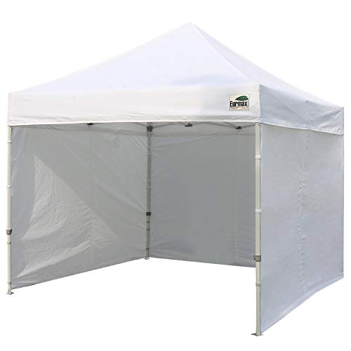 Eurmax 10'x10' Ez Pop-up Canopy Tent Commercial Instant Tent with 4 Removable Zipper End Side Walls and Roller Bag, Bonus 4 SandBags (10 Pop Up Canopy)