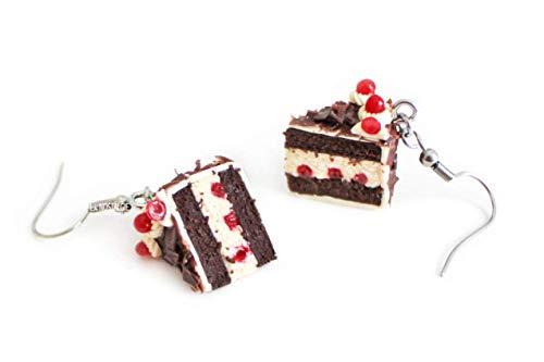 Black Forest Cake Silver Dangle Earrings Dollhouse Miniatures Cherry Chocolate Slice • LA NOSTALGIE