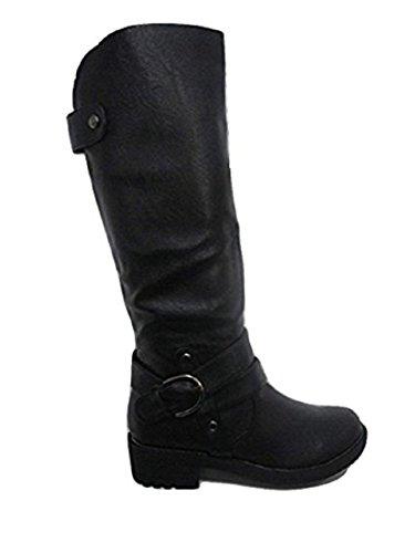 CASANDRA Black Buckle Detail Mid Calf Riding Boot - (LB50100) UK 3 to 8 wSA9I