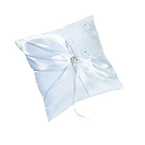 Lillian Rose White Vintage Jeweled Lace Wedding Ring Pillow Diamond Ring Pillow