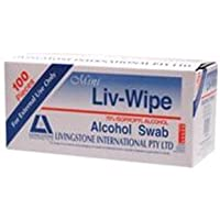 LIV-WIPE LARGE 70pct ALCOHOL SWABS 65X56MM 100/BOX 6BOXES/CT