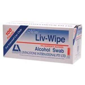 6 Boxes Mini Liv-Wipe Alcohol Swab, 100 per Box 62 x 30 mm (DEAL)