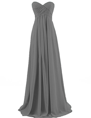 Cdress Chiffon Sweetheart Long Bridesmaid Dresses Plus Size Prom Party Formal Gowns Steel_Grey US 16W