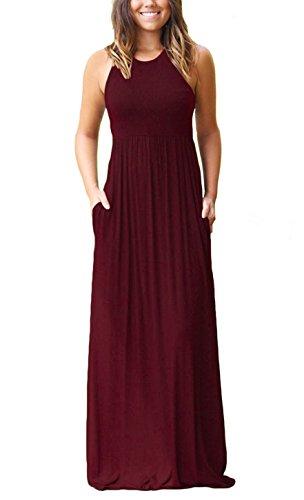 Muhadrs Women's Sleeveless Long Floor Length Maxi Slim Beach Dresses Wine Red