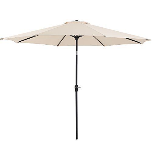 SONGMICS 9 ft Heavy Duty UPF50+ Patio Umbrella, 8 Ribs Outdoor Table Umbrella, Sun Shade Canopy with Tilt and Crank Mechanism - for Gardens, Balcony and Terrace- Beige UGPU09BE (Sunbrella Patio Umbrellas)