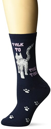 K. Bell Women's Cool Cats Fun Novelty Casual Crew Socks, Talk to the Tail (Navy), Shoe Size: 4-10