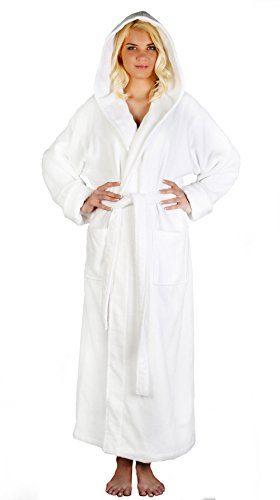 White Hood Clothing (Arus Women's Full Length Long Tall Hooded Soft Twist Turkish Cotton Bathrobe White Medium)