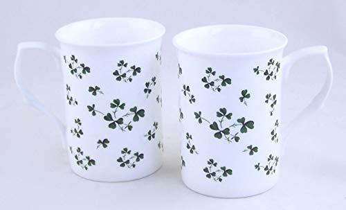Set of Two Fine English Bone China Mugs - Irish Shamrock Chintz - England
