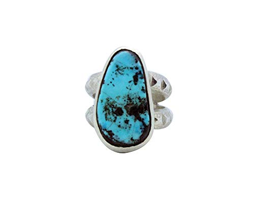 Monty Claw, Tufa Cast Ring, Morenci Turquoise, Silver, Navajo Handmade, 10 ()