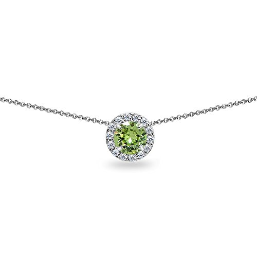 Sterling Silver Light Green Round Halo Slide Choker Necklace Made with Swarovski Crystals