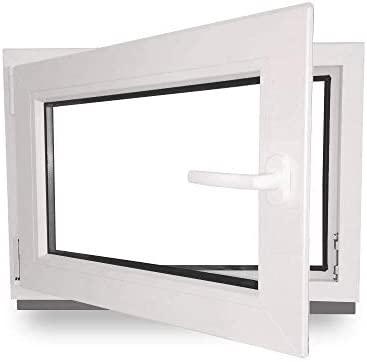 schneller Versand 60mm Profil DIN links verschiedene Ma/ße wei/ß Kellerfenster 3-fach-Verglasung Fenster BxH: 95x70 cm Kunststoff