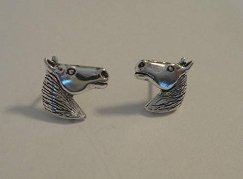 Sterling Silver Small 13x15mm Pony Horse Head Studs Posts Earrings