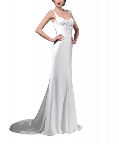 geoeffnetes Gericht BRIDE Satin Weiß GEORGE Abendkleid Ausschnitt Exquisite ausgestattet Zug zurueck herzfoermiger Strap YSqdS8