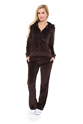 Womens Comfortable and Stylish Velour 2 Piece Tracksuit Set Small Brown