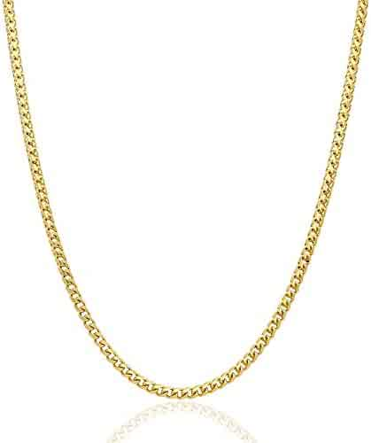 Solid 14K Yellow Gold 4mm Franco Chain Necklace 24