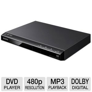 Sony Progressive Scan DVD Player With 480p Progressive Output, Fast/Slow Playback With Sound, CD, MP3 And JPEG Playback, 12-Bit Video DAC With 108Mhz Processing, 96KHz/24Bit Digital Output, Multi-Disc Resume (6 Disc), Dolby Digital And DTS Decoding, Black Finish