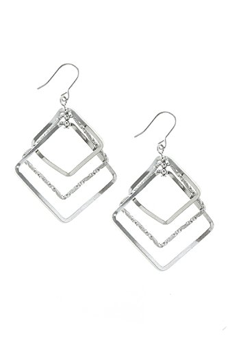 [THE JEWEL RACK SQUARE WAVY TEXTURED DROP EARRINGS (Silver)] (Wavy Guy Costume)
