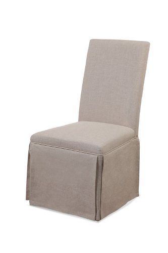 Edison Skirted Parsons Chair w Natural Linen Fabric - Set of 2 (Skirted Chair Parsons)