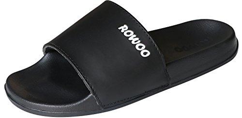 ROWOO Men's Anti-Skidding EVA Open Toe Slide Beach and Pool Flip Flops Sandals (12 US/45 EU, Black)