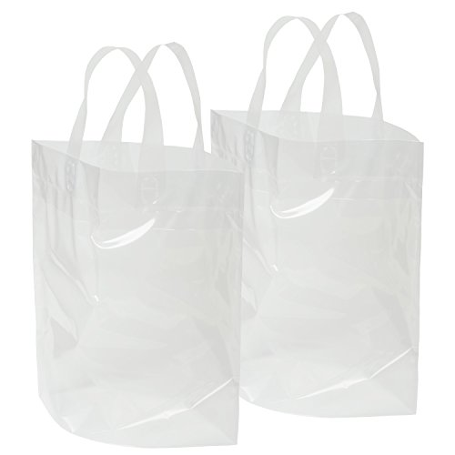 """Clear Bag with Soft Loop Handle 12"""" X 12"""" X 6"""" Thick Plastic Shopping Lunch Stadium Tote Bag, 2 Pack (Soft Clear Loop)"""