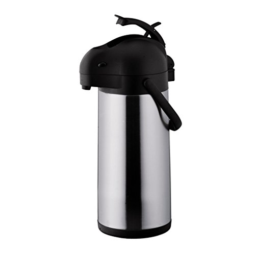 Chef's Supreme - 3 L Black Stainless Airpot w/ Lever by Chef's Supreme