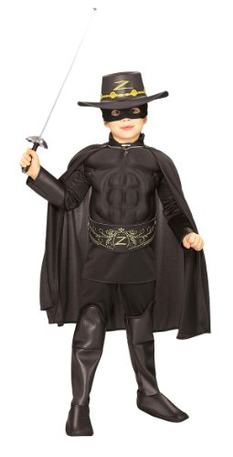 Kids Outlaw Costume (Rubie's Costume Zorro Deluxe Muscle Chest Child Costume, Toddler)