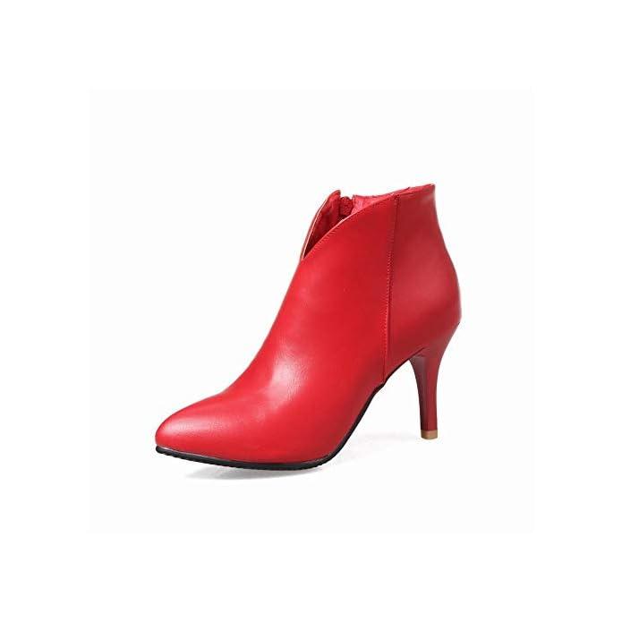 Wsr Stivali Da Donna Stivaletti Caldi A Tacco Alto Alla Caviglia Bassi Spillo rosso 37