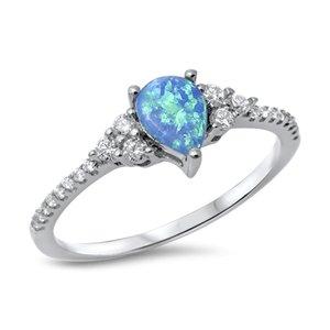 Joyara - Bague Femme - Argent Fin 925/1000 Bleu Opale Oxyde de Zirconium