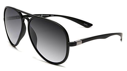 Samba Shades Classic French Riviera Sport Aviator Carrera Sunglasses with Unbreakable Rubber Black Frame, Grey - Glasses Sun Carrera