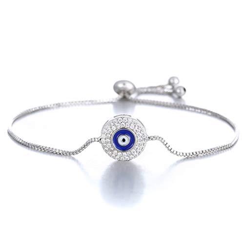 (SAKAIPA Adjustable Cubic Zirconia Cute Slider Tennis Gold Plated Butterfly Bracelet Women Jewelry (Silver Plated Evil Eye))