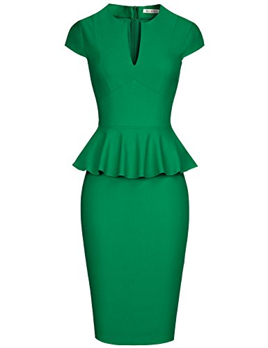 MUXXN Women's Vintage 50's Retro Peplum Cap Sleeve Bodycon Juniors Knee Dress (Green S)