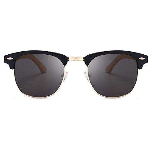 marco madera la la de conducción medio Negro de de media de Mate Gafas de del Gris de bambú retro lente Gafas sol polarizadas cnT6P7Y7