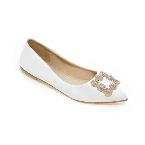 JEFCY Women Fashion Flat Pumps Shoes Rhinestone Leisure PU Comfortable Soft Ladies Non Slip Pointed Toe Loafers White