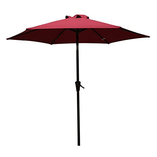 Patio Umbrella, 7.5' Outdoor Table Market Umbrella with Push Button Tilt/Crank, 6 Ribs, Dark Red by COBANA (Patio Tables With Umbrella)