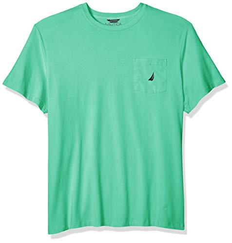 Nautica Men's Solid Crew Neck Short Sleeve Pocket T-Shirt, Mint Spring, 5X Big ()