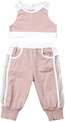 LIXIUQING Sommer 2 Stück Mädchen Mädchen Kleidung Crop Tops Weste Hose Sportswear Mädchen Kinder Kleidung