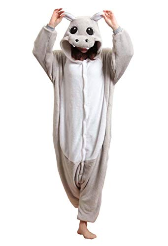 Adult Unisex Animal Cosplay Pajamas Onesies Costumes Grey Hippo]()