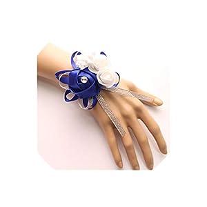 alerghrg Silk Roses White Wrist Corsage Wrist Flowers for Bridesmaids Flower Bracelet Pink Blue Bridal Sisters Wedding Accessories 32