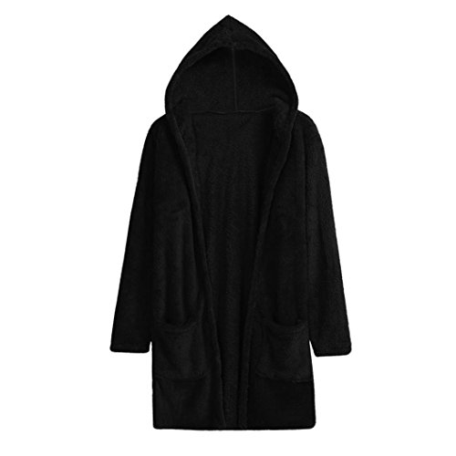 HOT Sale,AIMTOPPY Women Lambswool Hoodie Knit Long Sleeve Cardigan Sweaters Jacket Outerwear With Pocket (S, Black)