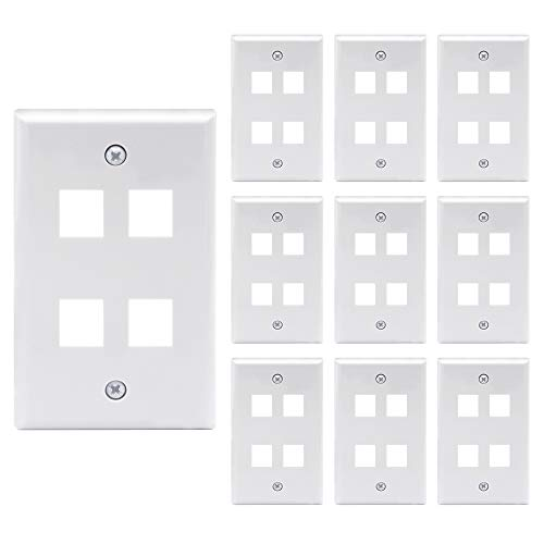 Keystone White Port Inserts 4 - [UL Listed] VCE 10 Pack 4-Port Keystone Wall Plate Keystone Jack Modular Inserts- White