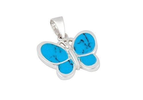 DTPsilver - Pendentif en Argent Fin 925 en Howlite bleu turquoise - Forme de papillon